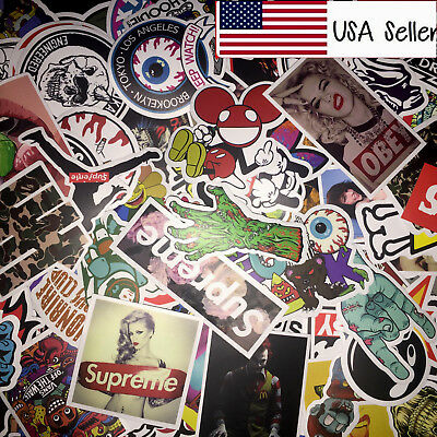 100 Skateboard Stickers bomb Vintage Hype Laptop Luggage Decals Dope Sticker Lot