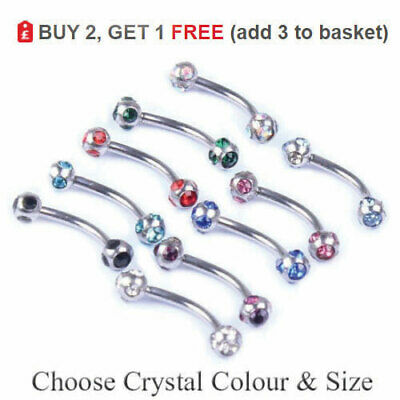 Curved Eyebrow Bar Banana Barbell 16G 1.2mm 6mm -12mm All Colours MULTI CRYSTAL