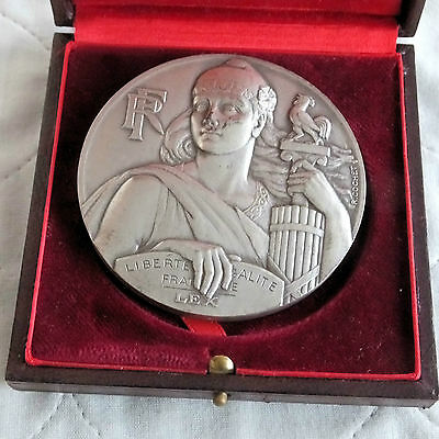 FRANCE 1967 NATIONAL ASSEMBLY 67mm SILVER COATED BRONZE MEDAL - boxed