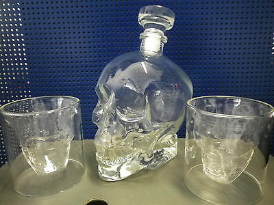 1200 ML! Groß Dekanter Karaffen Set Totenkopf Wein Whisky Vodka Skull Bar Party