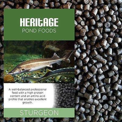 Heritage Sturgeon Sterlet Fish Food Pellets Premium Sinking Pond Feed Tench 4.5