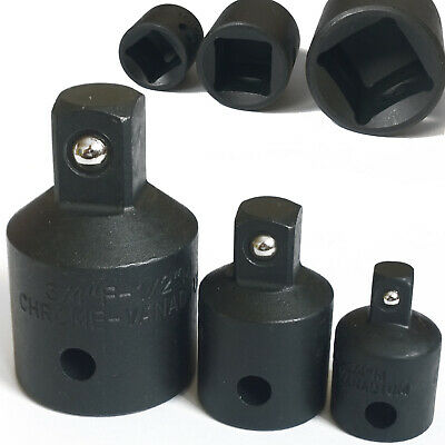 """Impact Socket Reducer Set. Step Down Adaptors 3/4 to 1/2 to 3/8 to 1/4"""" drives"""