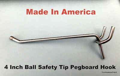 (100 PACK) USA Made 4 Inch Metal Peg Hooks. For 1/8 or 1/4 Pegboard or Slatwall