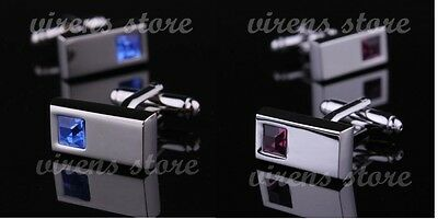 New Mens boys cufflinks rectangle silver wedding party fashion gift business V02