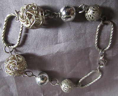 """Vintage Deco Designed Silver Tone Solid Lace And Wire Beaded  Link Bracelet 8 """""""