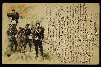 1902 France Military Illustrated Postcard : A Group of Soldiers on Patrol