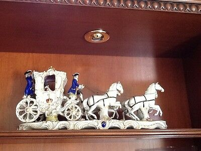 HUGE DRESDEN GRAND QUEEN'S COACH PORCELAIN FIGURINE COLLECTOR OWNED INCREDIBLE!