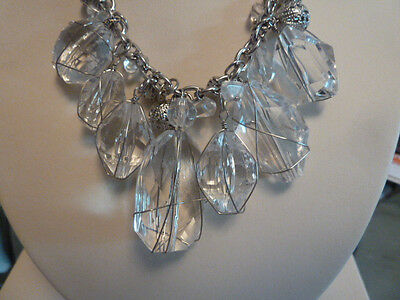 """CHICO'S 16"""" SILVER CRYSTAL  NECKLACE W/EARRINGS  NWOT"""