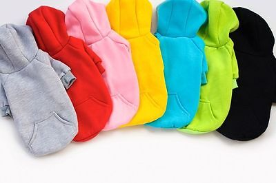 7 Colors 100% Cotton Coat Sweater Jumper Hoodie Small Pet Dog Clothes 6 size