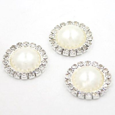 10pcs Bulk Silver Tone Round Rhinestones Alloy Crafts Pearls Embellishments 21mm