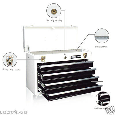 202 White Black drawers US Pro Tools Top Steel Tool Box Chest - CABINET 4 DRAWER
