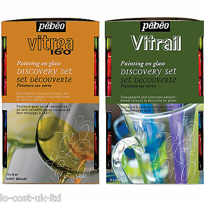 PEBEO VITREA 160 & VITRAIL TRANSPARENT STAINED GLASS PAINT 12X20ml DISCOVERY SET