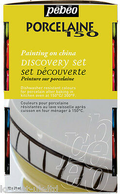 PEBEO PORCELAIN 150 DISCOVERY SET GLOSSY PAINT 12X20ml PAINT ON CHINA & CERAMIC