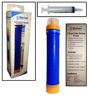 WATER FILTER PURIFICATION LIFE SURVIVAL STRAW EMERGENCY PURIFIER camping hiking