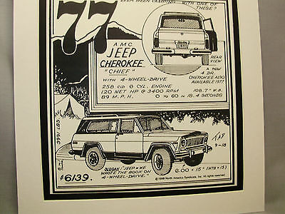 1977 Jeep Cherokee   Auto Pen Ink Hand Drawn  Poster Automotive Museum