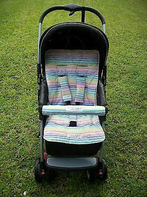 *RAINBOW STRIPES*universal pram liner set-includes front belly bar cover.