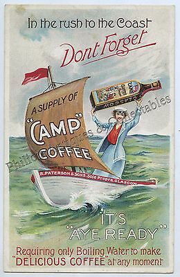 C.1907 LITHOGRAPHED NPU ADVERTISING POSTER POSTCARD CAMP COFFEE GLASGOW UK  e99.