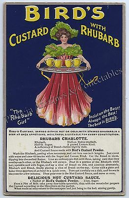 C.1907 LITHOGRAPHED NPU ADVERTISING RECIPE POSTCARD  BIRDS CUSTARD UK  f1.