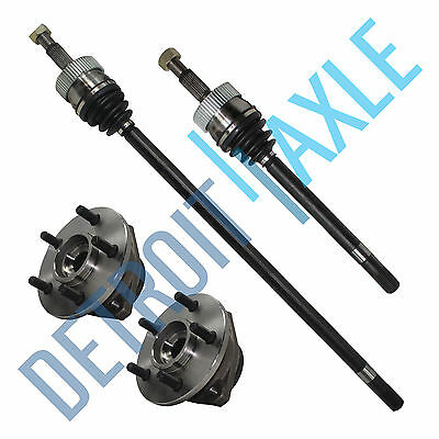 Front Left And Right CV Axle Shafts FULL TIME 4x4 + 2 Wheel Hub Bearing Assembly