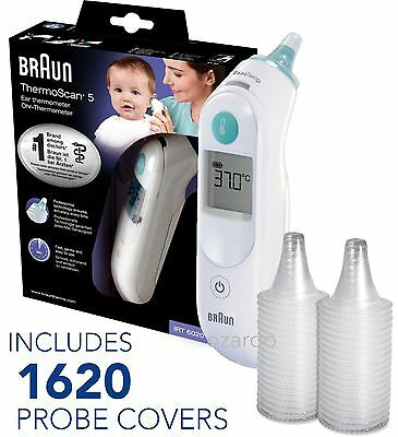 NEW Braun ThermoScan 5 6020 Baby Digital Ear Thermometer with 1620 Probe Covers