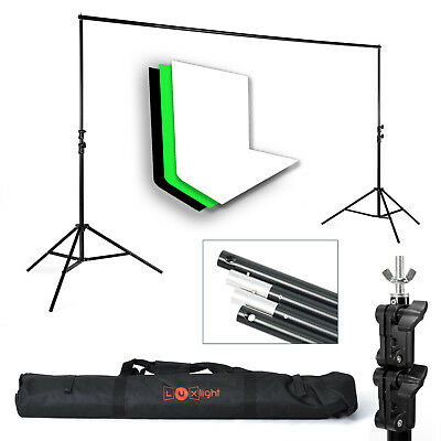 3 Cotton Muslin Backdrop & Background Support Stand Kit - Photography Studio