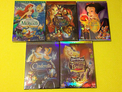 LOT OF 5 Disney DVDs: The Little Mermaid, Beauty and the beast, Sleeping beauty