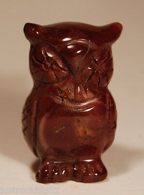 MOOKAITE OWL CARVING 4cm 34g Maroon Chalcedony Carved Healing Crystal Chakra