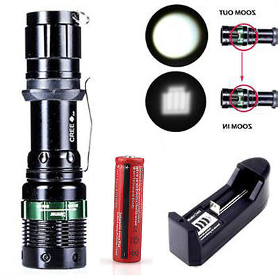 CREE XML Tactical 2200LM Flashlight Torch Lamp Light+18650Battery+Charger USA