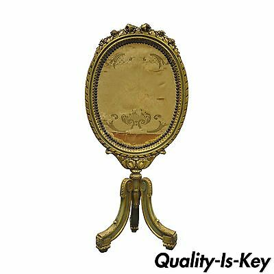 Antique 19th C. French Louis XVI Style Carved Gilt Wood Oval Fire Place Screen