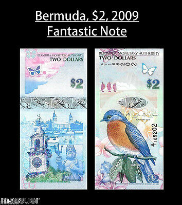 Bermuda 2 Dollars - 2009/2013 Hybrid With Prefix A/1 - P 57 Unc - Lot Of 1 Two $
