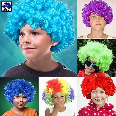 Kids Afro Curly Wigs Clown Fancy Dress Party Wig Rainbow Purple Blue Red JHWIG01