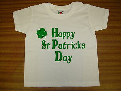 "Baby/Toddler T-Shirt ""Happy St Patricks Day"" White T-Shirt - Green Print 3-24mth"