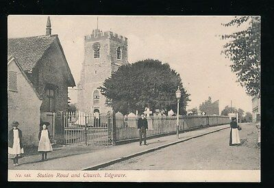 Middlesex EDGWARE Station Rd Church locals pre1919 PPC by local pub Smith