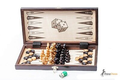 Brand New Hand Crafted Cherry Wooden Chess Backgammon Draughts Set 35cm x 35cm