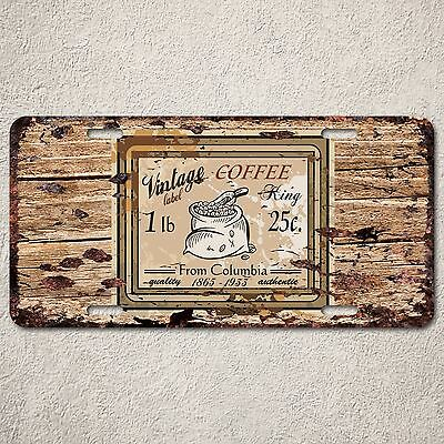 LP0137 Vintage COFFEE Sign Auto Car License Plate Rust Home Decor