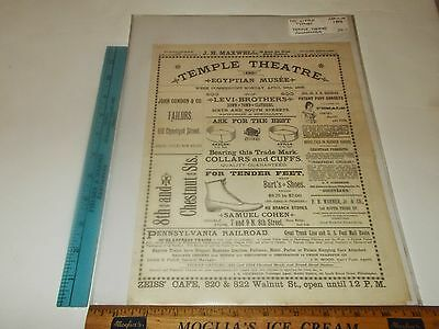 Rare Antique 1886 Temple Theatre Philadelphia PA Little Tycoon Advertising Print