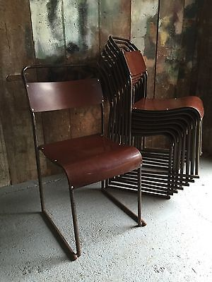 Vintage Industrial Mid Century Stacking Chairs Bruno Pollocks
