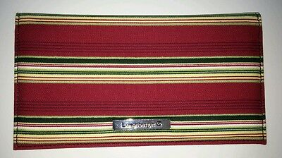 Longaberger Fabric Duplicate Checkbook Cover Holiday Stripe Red Green NEW