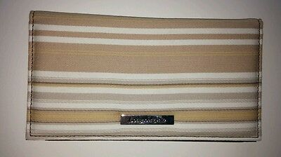 Longaberger Fabric Duplicate Checkbook Cover Washed Linen Tan Cream Stripe NEW