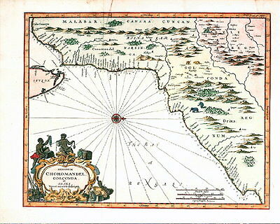 ANTIQUE MAP - 1744 - CHOROMANDEL - BAY OF BENGAL - INDIA - Baldaeus