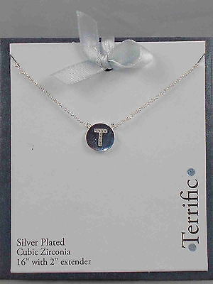 "Macy's Silver Plated Cubic Zirconia Initial T ""TERRIFIC"" Disc Pendant Necklace"