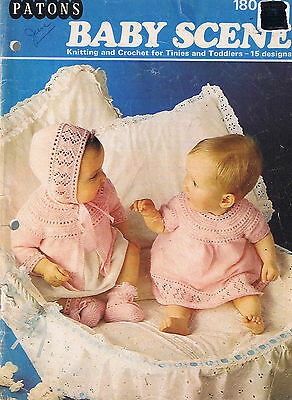 Patons Knitting & Crochet Book 180 Baby Scene Tinies & Toddlers 15 Designs Vtg++