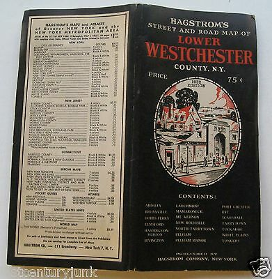 Hagstrom's Street And Road Map Lower Westchester County New York 1952