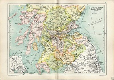 Antique Cassell's Atlas Map of Southern Scotland 1910 Bartholomew