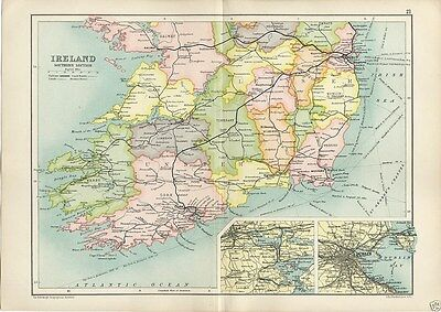 Antique Cassell's Atlas Map of Ireland South 1910 Bartholomew