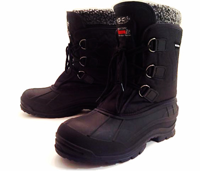 """MENS BLACK WINTER BOOTS WATERPROOF NYLON 9"""" INSULATED WARM HIKING SNOW SHOES"""