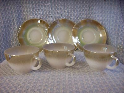 VTN FEDERAL GLASS MOSS BROWN CUPS AND SAUCERS 3 SETS