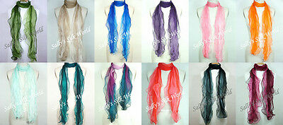 Wholesale Lot of 5 Gradient Silk Ruffle Chiffon Scarves/Scarf