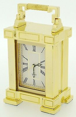 Miniature Novelty Solid Brass French Mantel Clock with Handle
