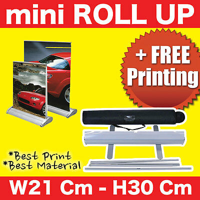 Roll Up Mini Retractable Banner Stand 21Cm x 30Cm + FREE Print !!!